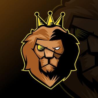 Logo e-sportu lion do gry zespołowej, logo gry drużynowej