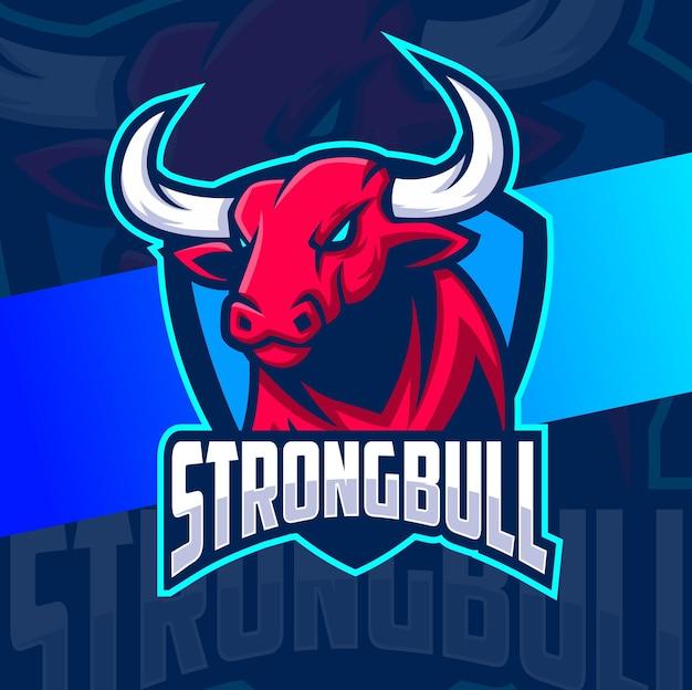 Logo e-sportu maskotki głowy byka z tarczą do koncepcji logo sportu i gier