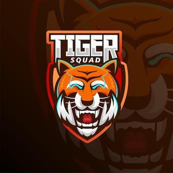 Logo e-sportu maskotki głowy tygrysa. projekt logo głowy tygrysa z widokiem z przodu