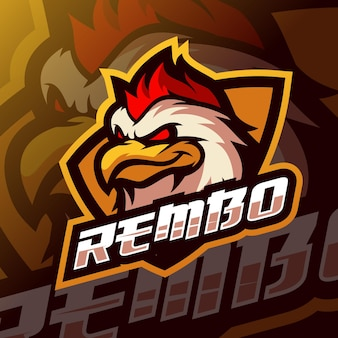 Logo e-sportu maskotki kurczaka
