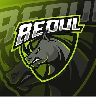 Logo e-sportu maskotki nosorożca