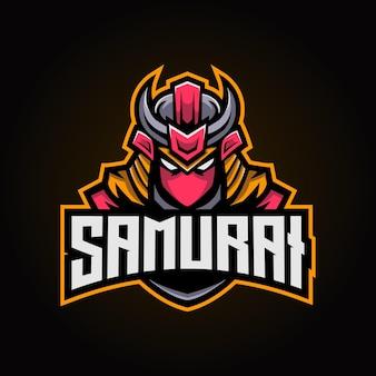 Logo e-sportu maskotki samuraja