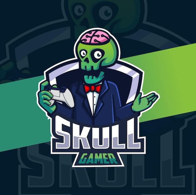 Logo e-sportu maskotki zabójcy czaszki żniwiarza dla