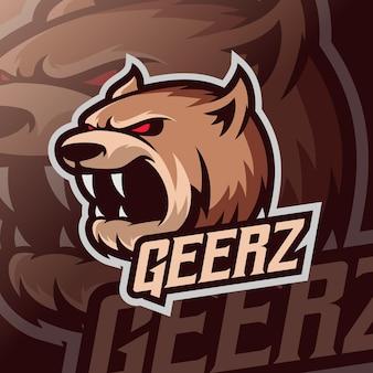 Logo e-sportu niedźwiedzia maskotki