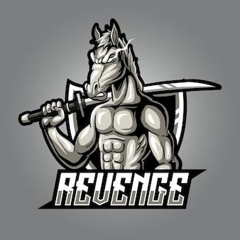 Logo e-sportu silnego zły konia maskotki