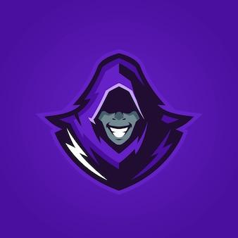 Logo E-sportu Tajemniczego Człowieka Premium Wektorów
