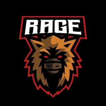 Logo e-sportu wściekłego dzika