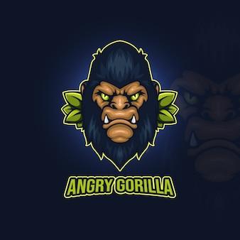 Logo e-sportu wściekłego goryla