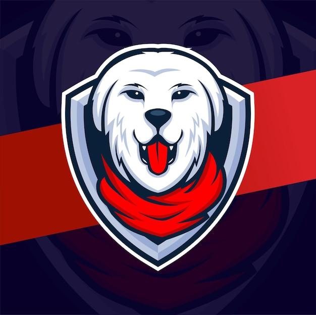 Logo E-sportu Z Maskotką Psa Rottweiler Do Gier I Logo Strażnika Psa Premium Wektorów