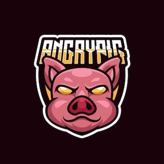 Logo e-sportu z wściekłym zwierzęciem świni