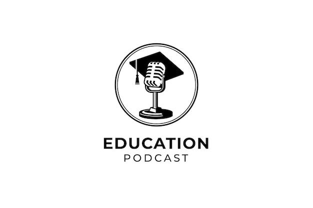 Logo edukacji podcastu lub kursu wokalnego. retro mikrofon na sobie ilustracja kapelusz toga.