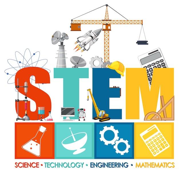 Logo edukacji stem z elementami ozdoby ikon