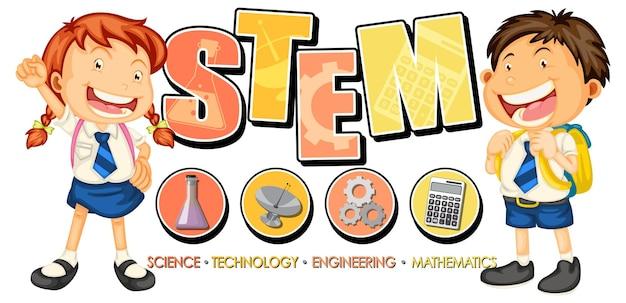 Logo edukacji stem z postacią z kreskówek dla dzieci