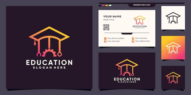 Logo edukacji z ikoną mechanika w stylu liniowym i projektem wizytówek premium wektor