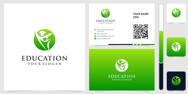 Logo edukacji z wektorem projektu wizytówki premium
