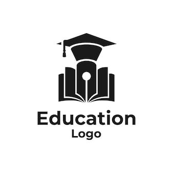 Logo edukacyjne z kapeluszem ukończenia szkoły, długopisem i książką w wektorze projektowania logo sylwetki