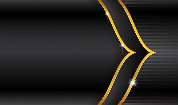 Logo eid mubarak na czarnym luksusie i złote paski