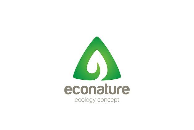 Logo eko zielony liść. negatywny styl przestrzeni.