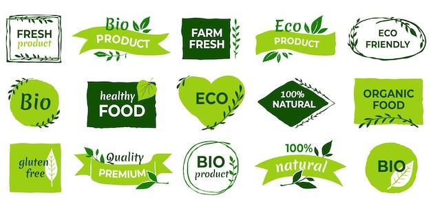 Logo ekologiczne. wegańskie etykiety produktów, odznaki z żywnością naturalną i eko warzywami, świeże, zdrowe naklejki