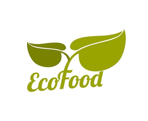 Logo ekologiczne zielone jedzenie z liści