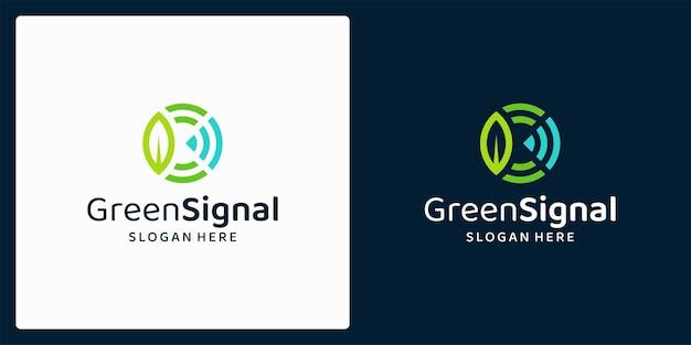 Logo ekologicznych produktów naturalnych z liśćmi i logo sygnałowym. premia wektorowa.
