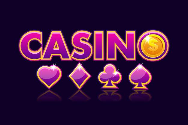 Logo ekranu tło kasyna, ikony hazardu ze znakami kart do gry i monety dolara. kasyno gry, automat, interfejs użytkownika. ilustracja
