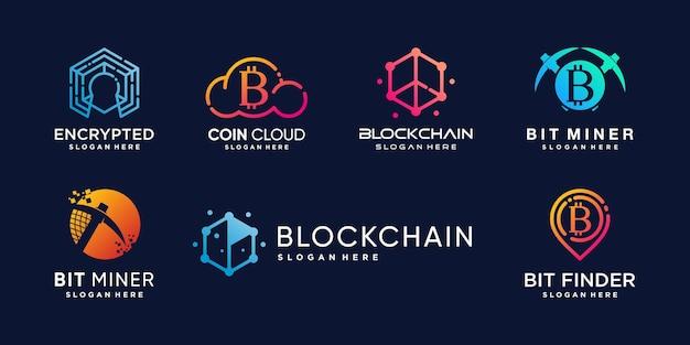 Logo elementu krypto z kreatywną koncepcją abstrakcyjną premium wektor