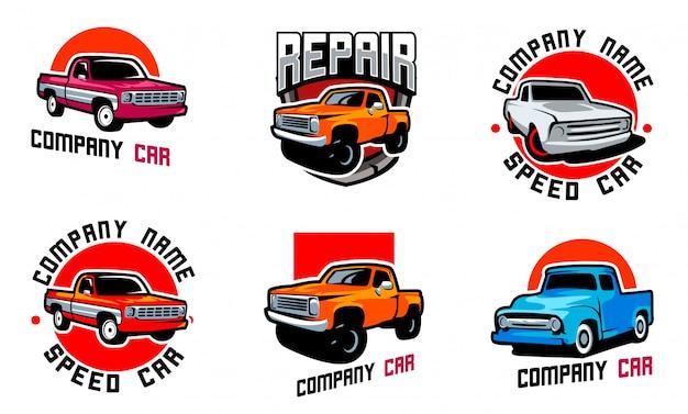 Logo emblematu klasycznego samochodu ciężarowego