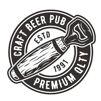 Logo emblematu z otwieraczem do baru pubu i browaru