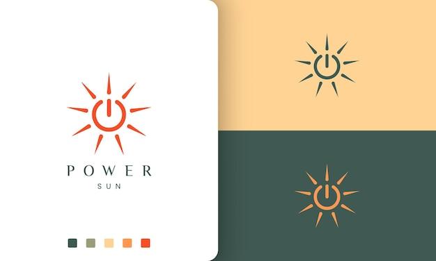 Logo energii słonecznej lub ładowania mocy w prostym i nowoczesnym kształcie