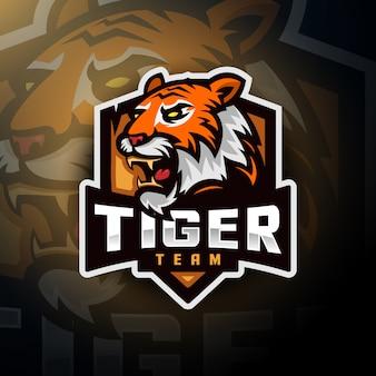 Logo esport dla graczy z głową tygrysa