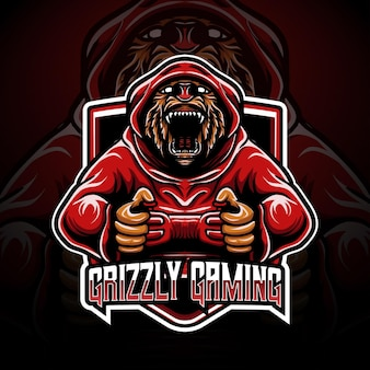 Logo esport grizzly gaming character