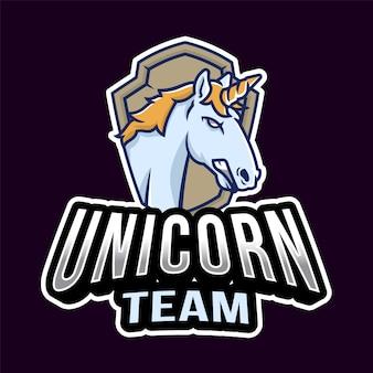 Logo esport head unicorn