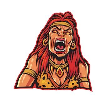 Logo esport kobiety barbarzyńcy