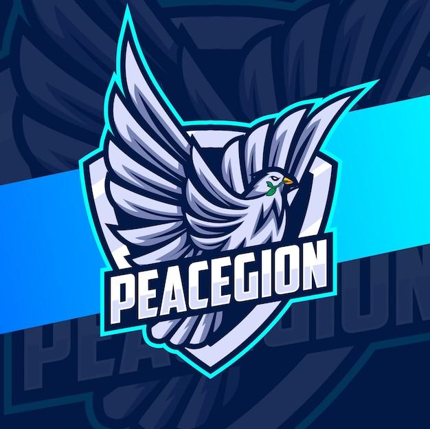 Logo esport latającej gołębiej maskotki