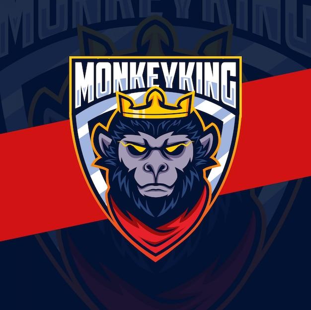 Logo esport maskotka głowa króla małpy