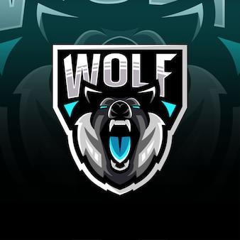 Logo esport maskotka głowy wilka