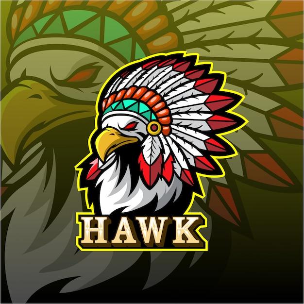 Logo esport maskotka jastrząb