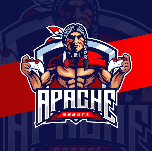 Logo esport maskotka szefa indyjskiego apache do logo gier i sportu