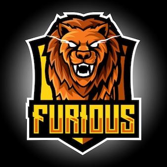 Logo esport maskotka zły lew