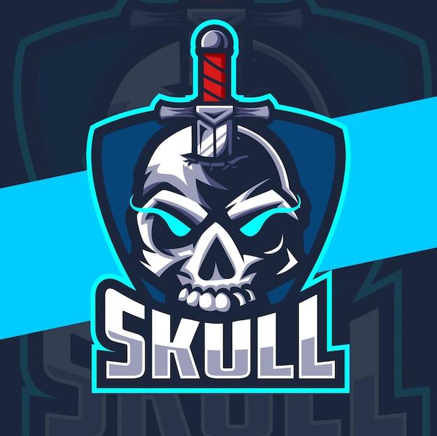 Logo esport maskotki czaszki noża