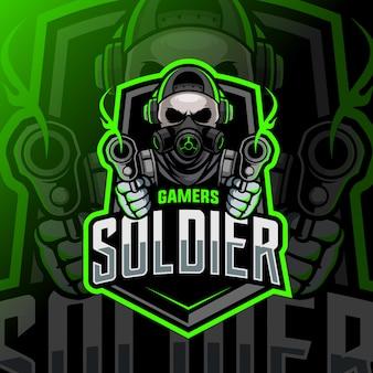 Logo esport maskotki czaszki żołnierza