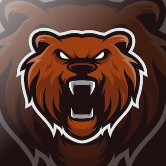 Logo esport maskotki głowy niedźwiedzia