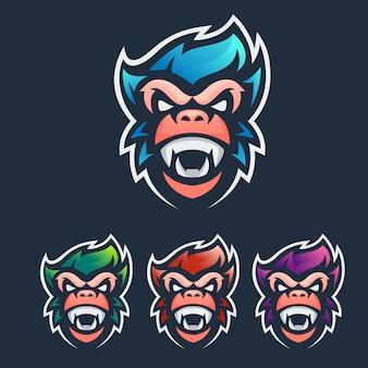 Logo esport maskotki małpy
