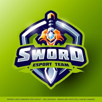 Logo esport miecza z edytowalnym efektem tekstowym