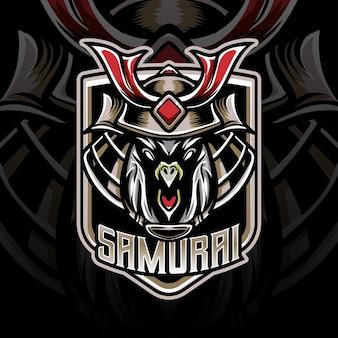 Logo esport z głową jastrzębia samuraja ikona postaci