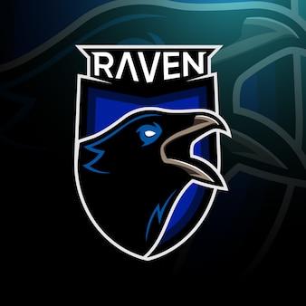 Logo esport z głową raven