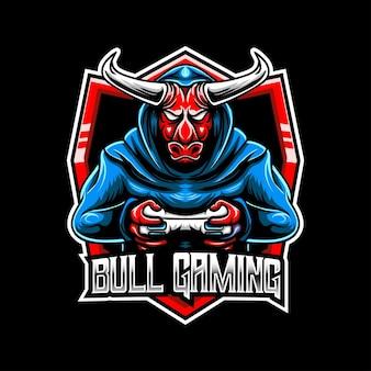 Logo esport z ikoną postaci byka do gier