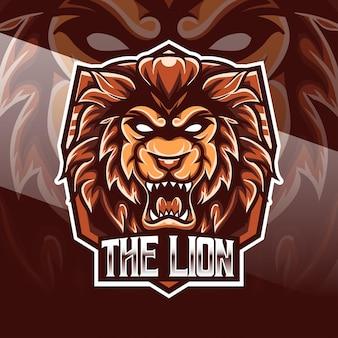 Logo esport z ikoną postaci lwa
