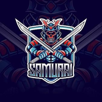 Logo esport z ikoną postaci samuraja